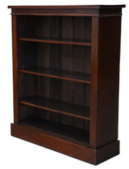 Antique Victorian C1880-1900 mahogany open bookcase adjustable shelves