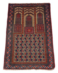 Antique quality Persian hand woven wool rug cream / terracotta ~5' x 3'