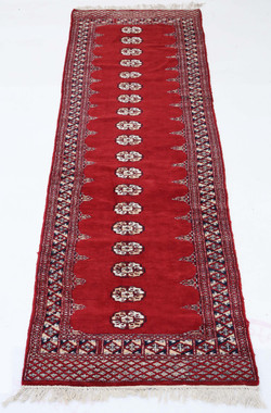 Antique Eastern hand woven wool rug red hall runner carpet ~3' x 12'