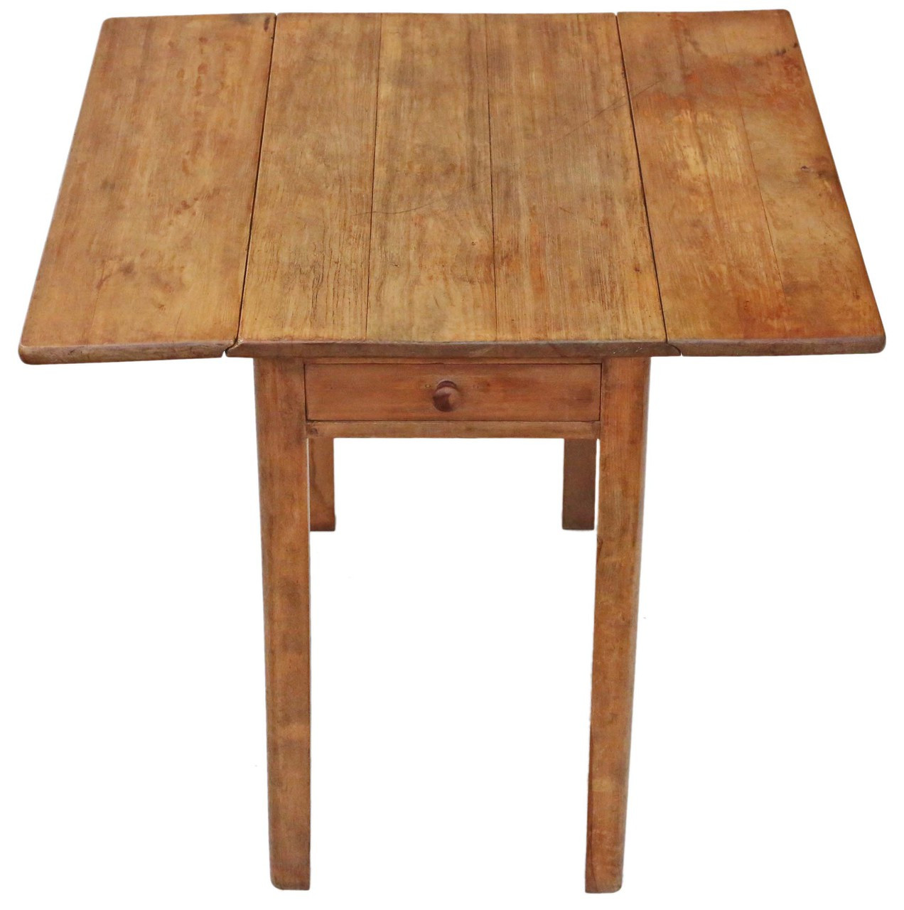 Antique Drop Leaf Scrub Top Pine Kitchen Dining Table With
