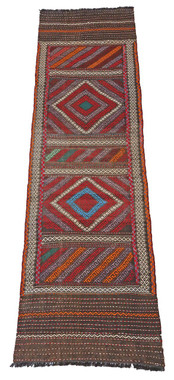 Antique Persian Kilim hand woven rug runner carpet wool ~9' x 2'3""