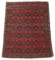 "Antique quality Persian hand woven wool rug black terracotta ~4'4""x 3'"