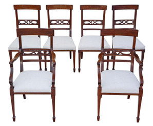 Antique quality set of 6 (4 + 2) Edwardian inlaid mahogany dining chairs