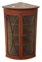 Antique quality Georgian 19C mahogany glazed corner cupboard display cabinet