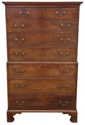 Antique large Georgian mahogany tallboy chest on chest of drawers C1790