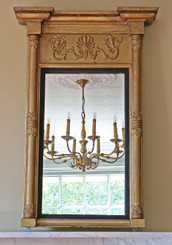 Antique C1830 Regency gilt overmantle wall pier mirror