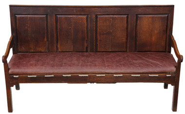Antique Georgian 18C rare quality Gothic oak settle hall seat bench sofa