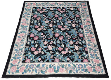 Antique large quality floral hand knotted Abusson wool rug C1960 ~ 9' x 7'