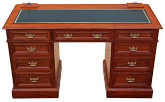 Antique Victorian C1880 walnut twin pedestal desk writing dressing table