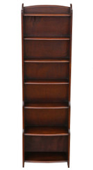 Antique mahogany waterfall bookcase display shelves