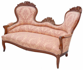 Antique quality 19th Century carved French walnut sofa settee chaise longue