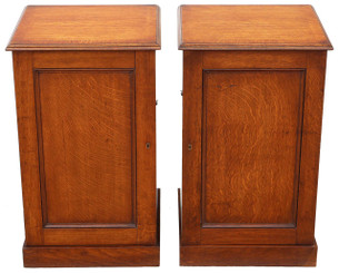 Antique quality pair of Victorian oak bedside tables cupboards