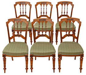 Antique quality set of 6 Victorian Aesthetic C1890 walnut dining chairs