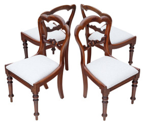 Antique set of 4 Victorian mahogany balloon cloud back dining chairs