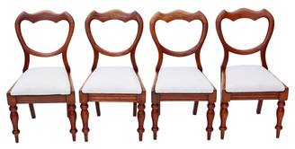 Antique set of 4 Victorian mahogany cloud balloon back dining chairs