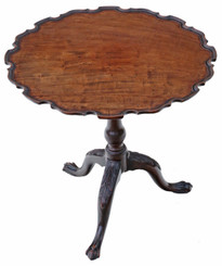 Antique quality 19C mahogany bird cage tilt top piecrust supper wine table