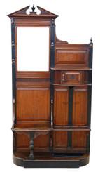 Antique C1880 Victorian oak hall, coat, hat, stick, umbrella stand