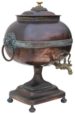 Antique Regency copper brass samovar tea urn pot brass bronze vase