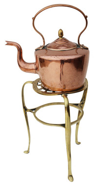Antique 19th Century copper kettle on brass stand