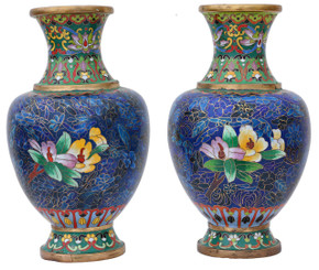 Antique quality pair of mid 20th Century Chinese cloisonne vases
