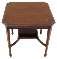 Antique Edwardian inlaid oak centre window table