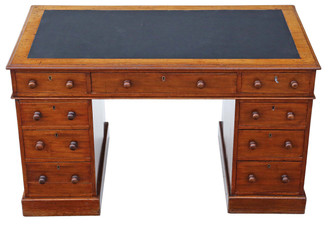 Antique Victorian mahogany twin pedestal desk or writing table