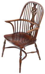 Antique quality ash and elm Windsor armchair hall side dining chair