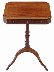 Antique quality Georgian 19C rosewood mahogany games work side sewing table