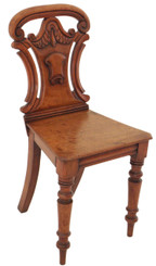 Antique Victorian 19th Century 19C carved mahogany hall side chair