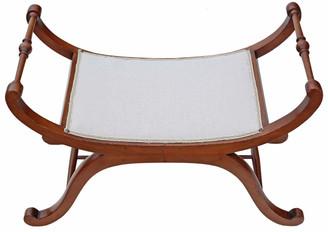 Antique rare quality C1850 mahogany x-frame stool seat foot