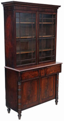 Antique Georgian Regency mahogany secretaire bookcase desk writing
