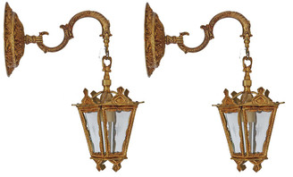 Antique pair of brass ormolu lantern style wall lights FREE DELIVERY