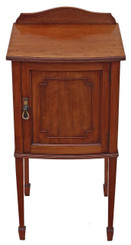 Antique Edwardian mahogany bedside table cupboard cabinet