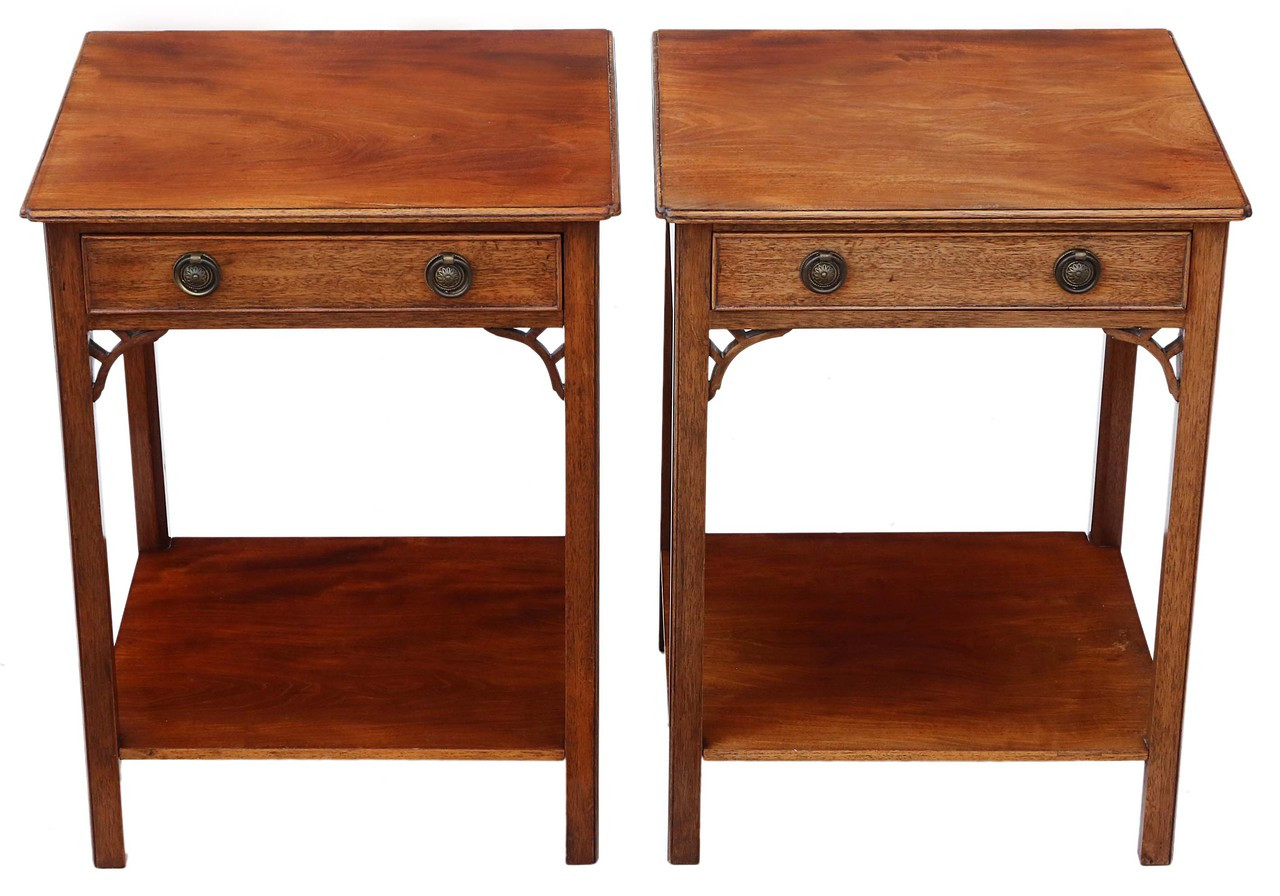 super popular 67ab6 40b6c Antique pair of mahogany bedside tables cupboards cabinets ...