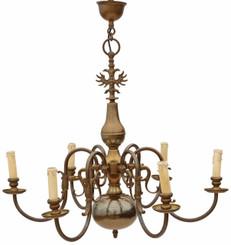 Antique 6 lamp brass Flemish chandelier FREE DELIVERY