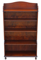 Antique mahogany waterfall bookcase shelves display