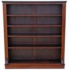 Antique Victorian mahogany open bookcase display shelves