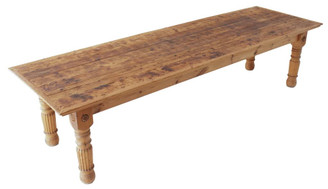 Antique large 10' x 3' quality pine scrub top dining kitchen table