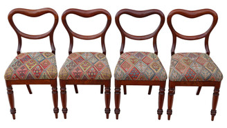 Antique set of 4 mahogany Victorian dining chairs balloon back