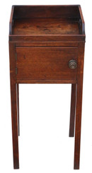 Antique Georgian mahogany tray top bedside pot cupboard table cabinet