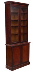Antique quality tall Victorian mahogany glazed bookcase display cabinet