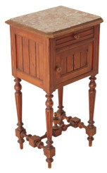 Antique French C1900 marble top bedside table pot cupboard cabinet