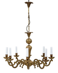 Antique 8 lamp ormolu brass chandelier FREE DELIVERY