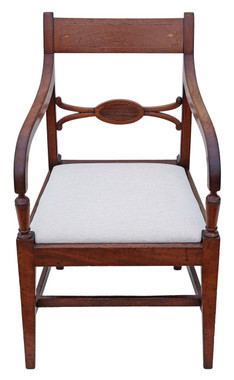 Antique 19th Century inlaid mahogany office elbow desk chair carver