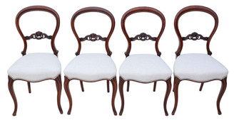 Antique set of 4 Victorian walnut balloon back dining chairs