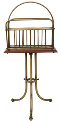 Antique Victorian brass walnut Canterbury magazine rack newspaper