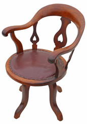 Antique Victorian mahogany and leather desk office elbow swivel chair
