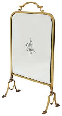 Antique Victorian ormolu brass cut glass fire screen
