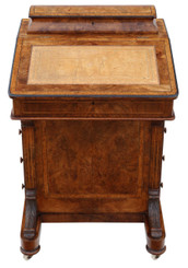 Antique Victorian C1870 inlaid burr walnut davenport writing table desk