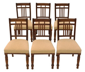 Antique quality set of 6 Victorian C1900 walnut dining chairs